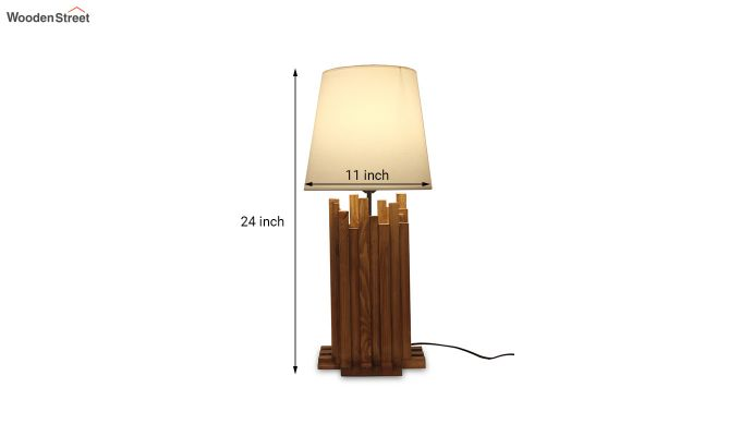 Palisade Wooden Table Lamp with White Shade-4