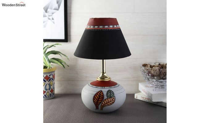 Red Leaf Terracotta Pot Shaped Table Lamp-2