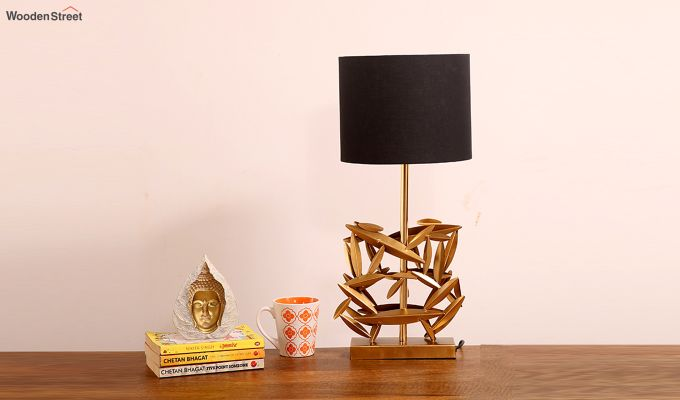 Spinner Golden Leaf Table Lamp with Charcoal Shade-1