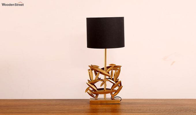 Spinner Golden Leaf Table Lamp with Charcoal Shade-2