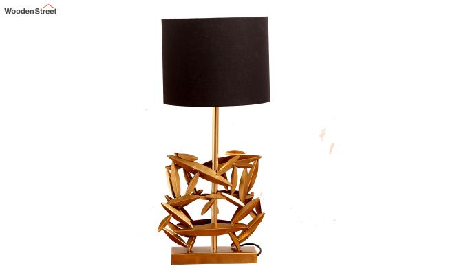 Spinner Golden Leaf Table Lamp with Charcoal Shade-3