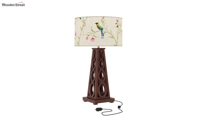 Spiro Table Lamp (Walnut Finish, Cream Robins)-2