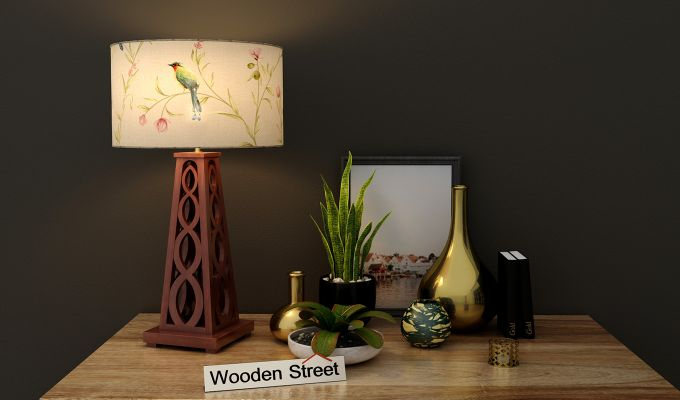 Spiro Table Lamp (Walnut Finish, Cream Robins)-1