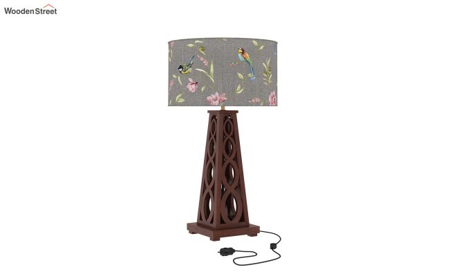 Spiro Table Lamp (Walnut Finish, Grey Robins)-2