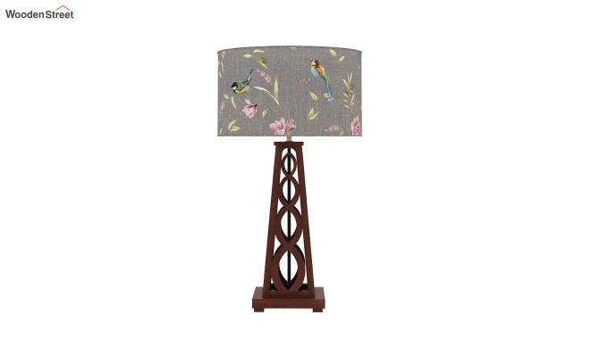 Spiro Table Lamp (Walnut Finish, Grey Robins)-3
