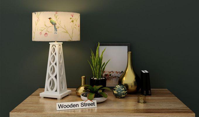 Spiro Table Lamp (White Finish, Cream Robins)-1