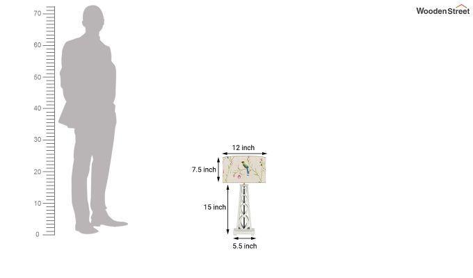 Spiro Table Lamp (White Finish, Cream Robins)-5