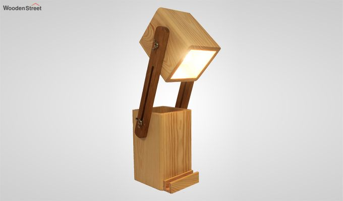 Toby Wooden Table Lamp with Desk Organiser-1