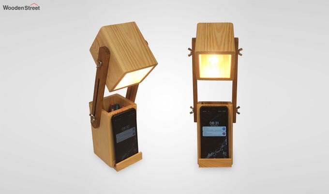 Toby Wooden Table Lamp with Desk Organiser-5