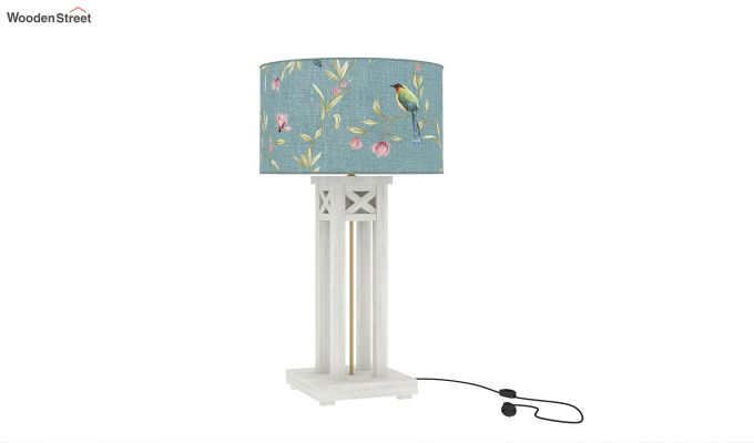 Tower White Distress Table Lamp (Bubble Robins)-2
