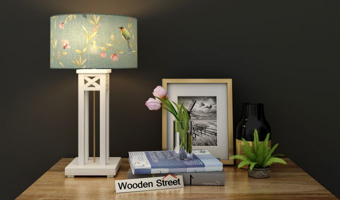 Tower White Distress Table Lamp (Bubble Robins)-1