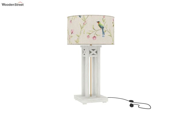 Tower White Distress Table Lamp (Cream Robins)-2