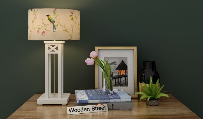 Tower White Distress Table Lamp (Cream Robins)-1