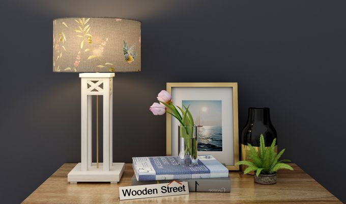 Tower White Distress Table Lamp (Grey Robins)-1