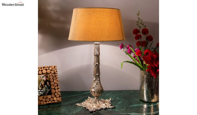 Victorian Carving Silver Brushed Khadi Table Lamp-1