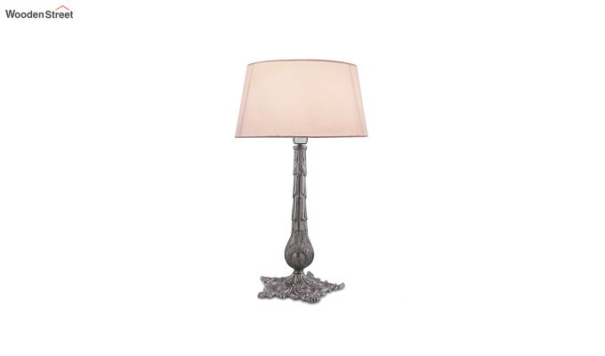 Victorian Carving Silver Brushed Khadi Table Lamp-2