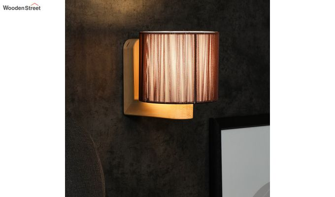 Contemporary Brown Wooden Wall Light-1