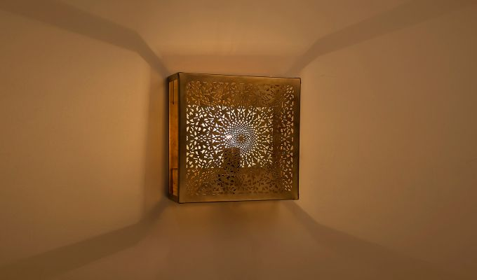 Oriental Brass Square Wall Light-1