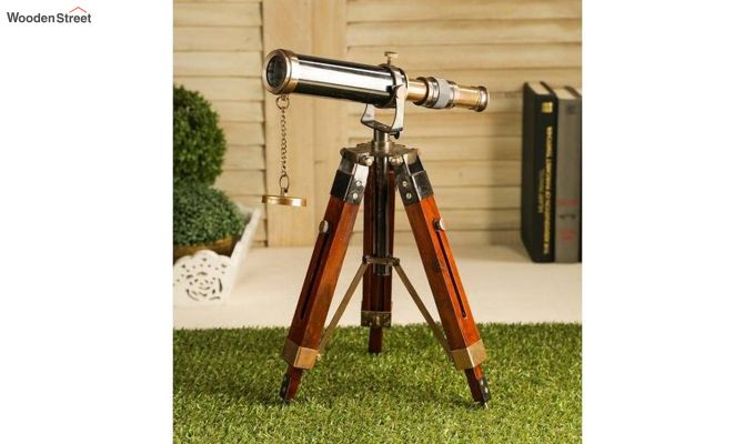 Brass and Wood Antique Telescope With Tripod Stand-1