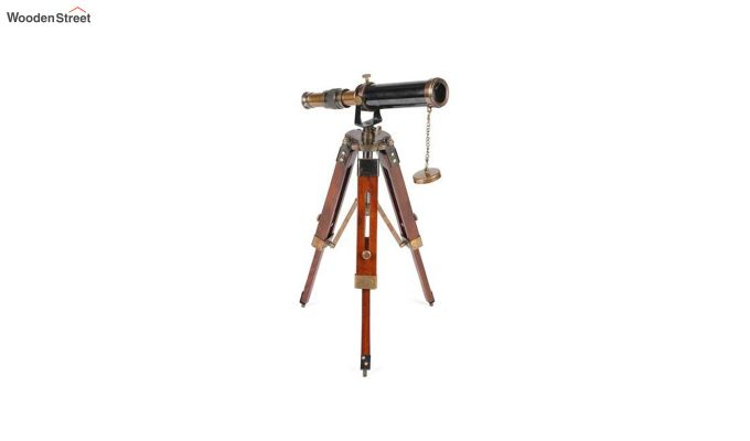 Brass and Wood Antique Telescope With Tripod Stand-2