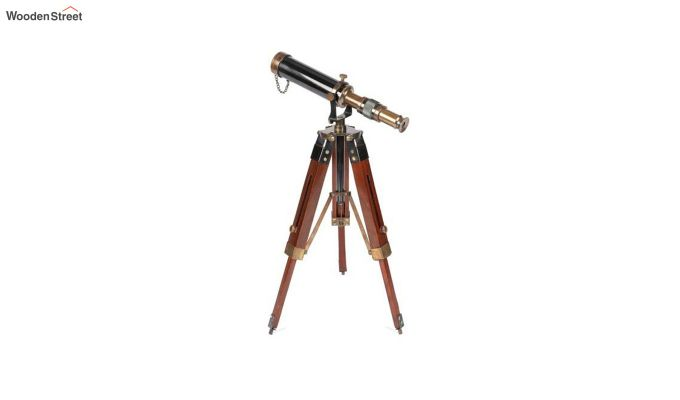 Brass and Wood Antique Telescope With Tripod Stand-3
