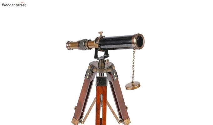 Brass and Wood Antique Telescope With Tripod Stand-4