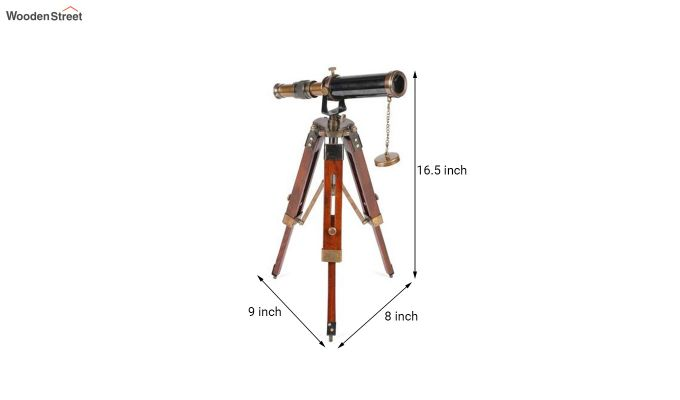 Brass and Wood Antique Telescope With Tripod Stand-5