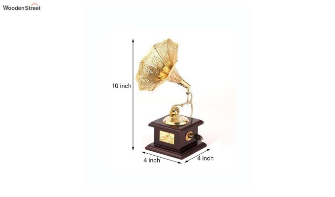 Brass and Wood Embossed Horn Gramophone-4