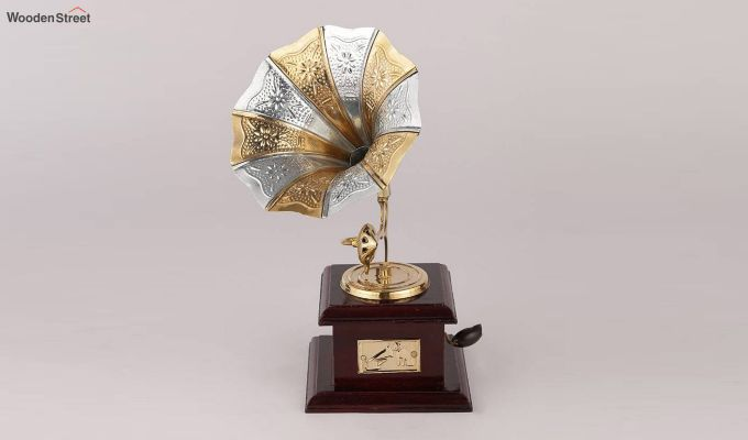 Brass and Wood Embossed Silver and Golden Horn Gramophone-1