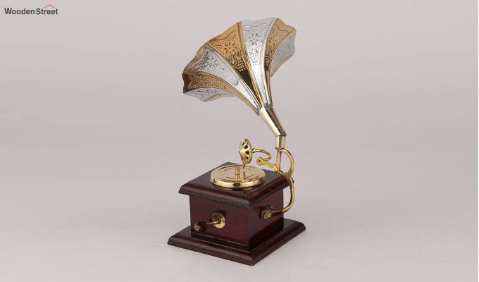 Brass and Wood Embossed Silver and Golden Horn Gramophone-3