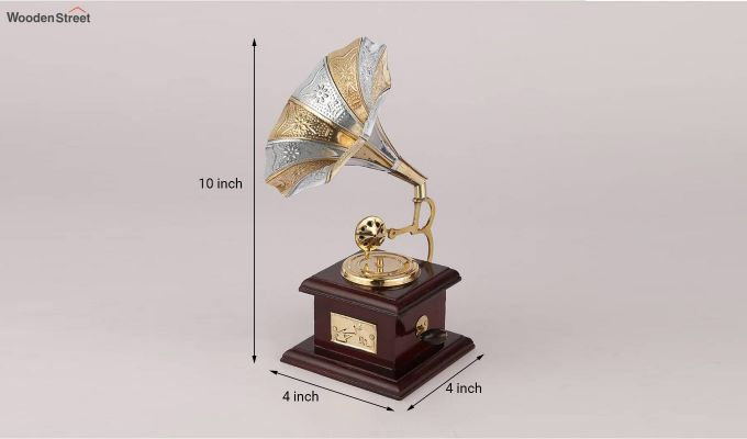 Brass and Wood Embossed Silver and Golden Horn Gramophone-4
