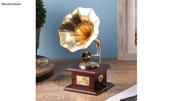 Brass & Wood Gold Gramophone-1