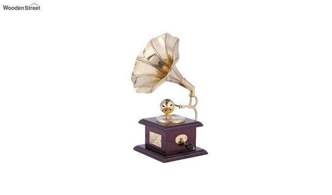Brass & Wood Gold Gramophone-2