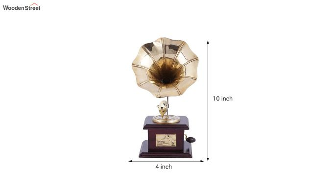 Brass & Wood Gold Gramophone-5