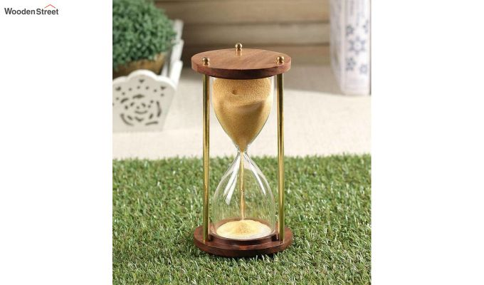 Brass and Wood Yellow Sand Timer-1