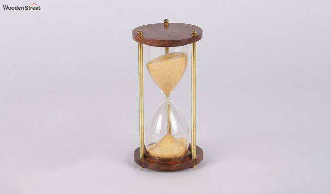 Brass and Wood Yellow Sand Timer-2