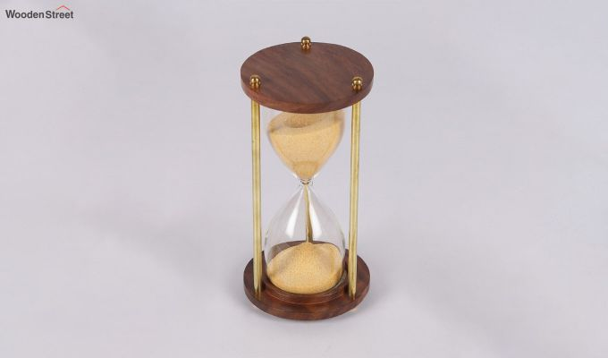Brass and Wood Yellow Sand Timer-3