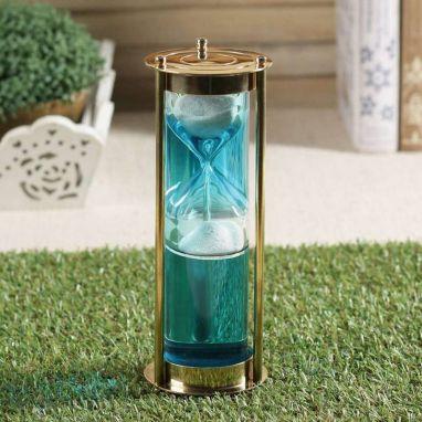 Brass Blue Coloured Water Sand Timer