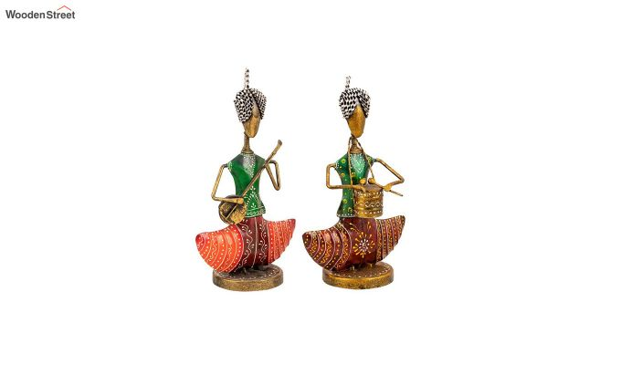 Multicoloured Iron Green Musician Decorative Figurine - Set of 2-2