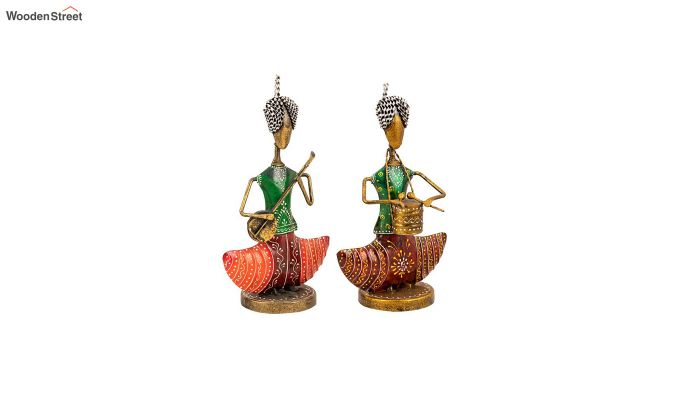 Multicolour Iron Singer Lady Decorative Figurine - Set of 2-2