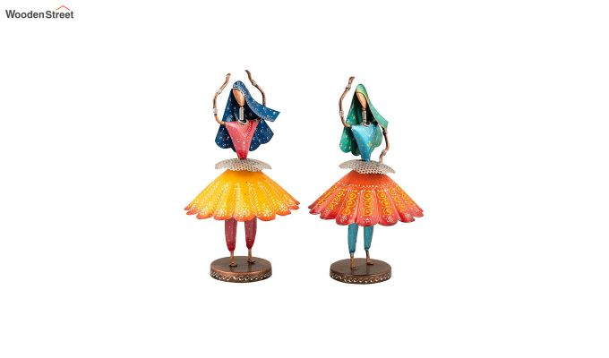 Multicoloured Iron Tribal Dancer Decorative Figurine - Set of 2-2