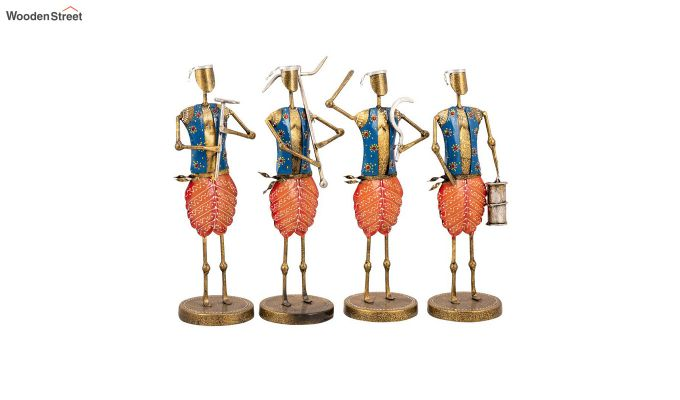 Multicoloured Iron Tribal Farmer Decorative Figurine - Set of 4-2