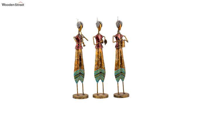Multicoloured Iron Tribal Singer Decorative Figurine - Set of 3-2