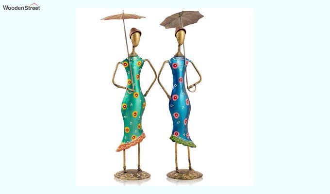 Multicolour Iron Umbrella Aunty Decorative Figurine - Set of 2-2