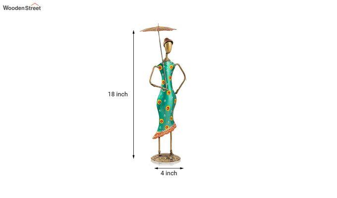 Multicolour Iron Umbrella Aunty Decorative Figurine - Set of 2-3