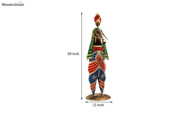 Multicoloured Iron Musician with Sarangi Decorative Figurine-3