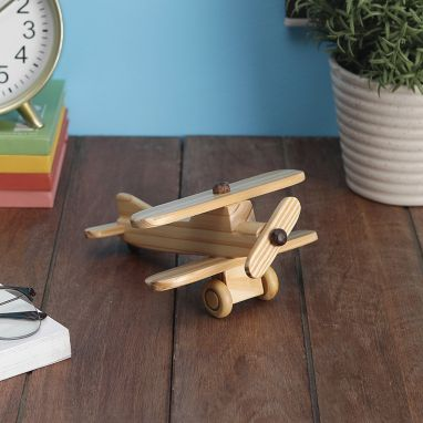 Pine Wood Hand Crafted Decorative Small Biplane