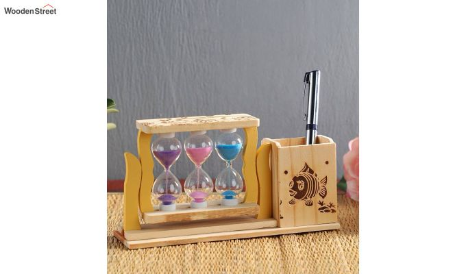 Three Tubes Sand Timers with Pen Stand-1