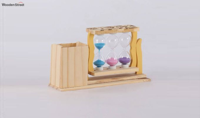 Three Tubes Sand Timers with Pen Stand-3