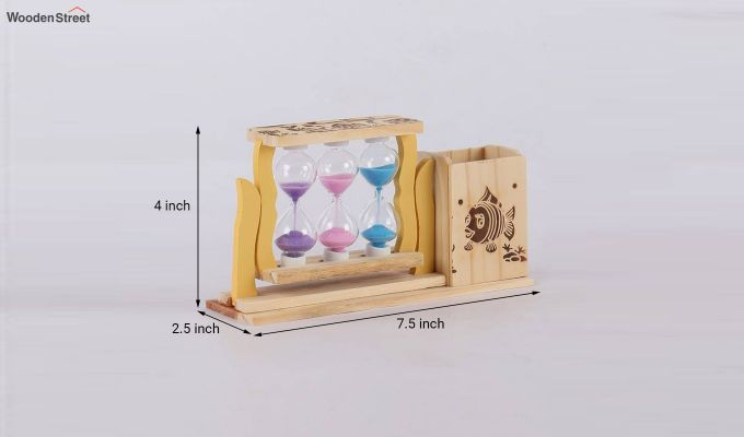 Three Tubes Sand Timers with Pen Stand-4